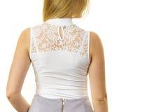 Woman wearing white top royalty free stock photo