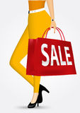 Unrecognizable woman in yellow pants. Vector illustration unrecognizable woman in yellow pants holding shopping bag with sale text message isolated over white Stock Image