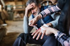 A woman bandaging a hand of a man worker after accident in carpentry workshop. An unrecognizable women bandaging a hand of a men worker after an accident in stock photo