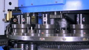Unrecognizable worker set up metal working metalworking punching, milling machine. stock video