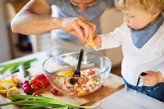 Young father with a toddler boy cooking. Royalty Free Stock Images
