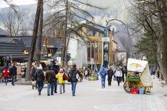 Unrecognized passers are walking along Krupowki Royalty Free Stock Image