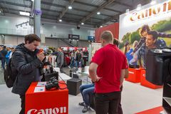 Canon booth during CEE 2017 in Kiev, Ukraine Royalty Free Stock Photography