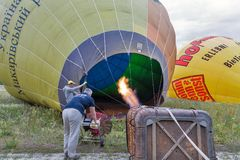 Hot air balloon preparing to flight. Makariv, Ukraine. Stock Image