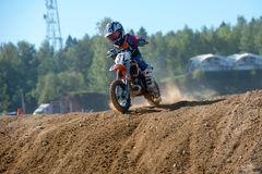 Unrecognized young athlete. MOSCOW, RUSSIA - SEPTEMBER 15, 2018: Unrecognized young athletes,in the Velyaminovo Race Weekend 2018, Motopark Velyaminovo royalty free stock image