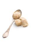 Unrefined cane sugar. In silver spoon Stock Image