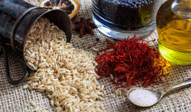 Unrefined rice on a sackcloth Royalty Free Stock Photography