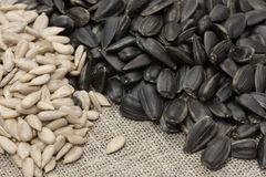 Unrefined sunflower seeds and peeled husks Stock Images