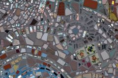 Unregelmäßige Glasfliesen-Mosaik-Nahaufnahme-Beschaffenheit Stockbild