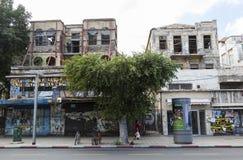 Unrenovated houses on Rehov Allenby Street. Tel Aviv, Israel. Stock Image