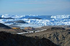 Unrepeatable panorama and just air .On ice floes, terrain and scenery Antarctic .Sunrise stock photo