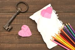 Unrequited Love Concept. Color Pencils, Two Crumpled Heart, Blan Stock Photo
