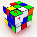 Unresolved problem. 3 D Rubik's Cube with a side stand out and question mark Royalty Free Stock Image