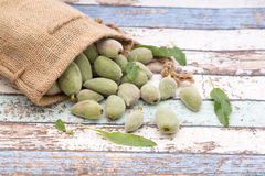 Unripe almonds in bag on vintage table Stock Images