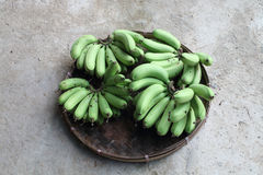 Unripe banana in pannier Royalty Free Stock Photo