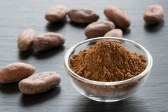 Unroasted cocoa powder and raw cacao nibs. Raw unroasted cocoa powder and raw cacao nibs on a dark background royalty free stock photography