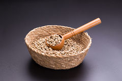 Unroasted coffee bean In the basket on black background Stock Photos