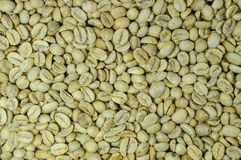 Unroasted coffee beans background, top view Stock Image