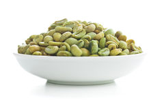 Unroasted coffee beans in bowl Stock Photos