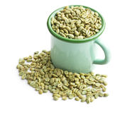 Unroasted coffee beans in green mug Stock Image