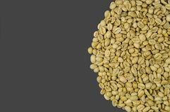 Unroasted coffee beans isolated on grey background Royalty Free Stock Images