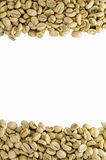 Unroasted Coffee Beans, isolated on white background Royalty Free Stock Photography