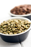 Unroasted green coffee beans Stock Images