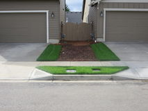 Unroll sod of grass ready to grow. Finished work of landscaping. Grass ready to grow its own now royalty free stock photo