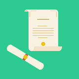Unrolled and rolled diploma paper icon Royalty Free Stock Photo