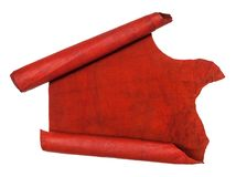 Unrolled scroll from red hide isolated on white. Background Stock Photography