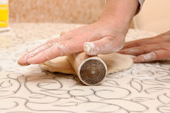 Unrolling a dough. For homemade raviolli Royalty Free Stock Photos