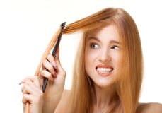Unruly hair. Redhead girl with unruly hair Royalty Free Stock Images