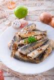 Arenques fritados transversal embutidos Fotos de Stock