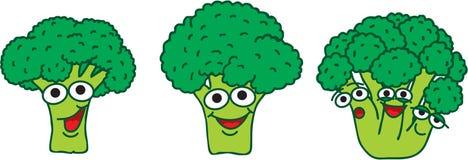 Uns brócolis do verde dos desenhos animados da família Fotografia de Stock
