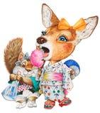 Uns cervos e um esquilo da criança no festival do verão Fotos de Stock Royalty Free