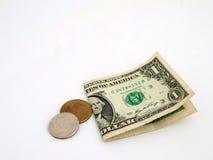 Uns dólar e mudança velhos Imagem de Stock