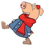 Uns desenhos animados bonitos do animal de exploração agrícola do porco Fotografia de Stock Royalty Free