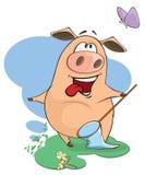 Uns desenhos animados bonitos do animal de exploração agrícola do porco Fotos de Stock