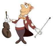 Uns desenhos animados do violinista Foto de Stock