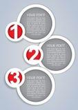 Uns, dois, três, etiquetas circulares do progresso no branco Fotografia de Stock