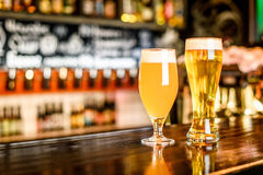 Uns dois vidros da cerveja clara em um bar com fundo do bokeh Foto de Stock Royalty Free