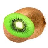 Uns fruto e metade de quivi isolados Imagem de Stock