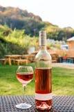 Uns vidro e garrafa do vinho vermelho ou cor-de-rosa no vinhedo do outono na tabela de vime de madeira Tempo de colheita, piqueni Fotos de Stock Royalty Free