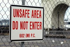 Unsafe Area sign Stock Photography