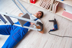 The unsafe behavior concept with falling worker Stock Photography