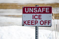 Unsafe Ice - Keep Off Sign Stock Photo