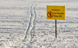 Unsafe Ice Sign Royalty Free Stock Photography