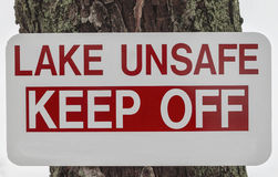 Unsafe Lake Sign Stock Image