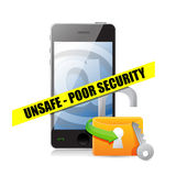 Unsafe poor security technology concept Stock Photos