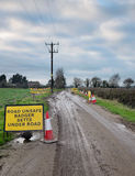 Unsafe road. Badger Setts. Stock Images